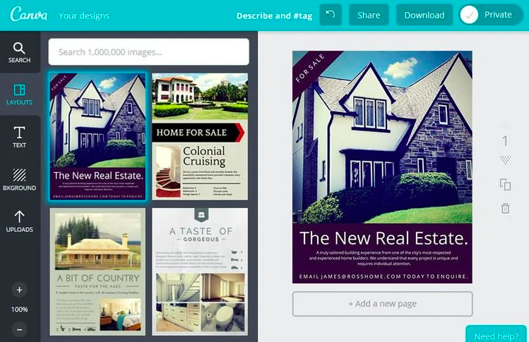 Canva for real estate templates