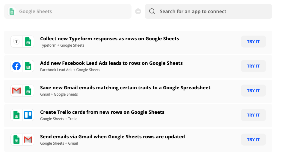 Zapier for syncing data to and from Google Sheets