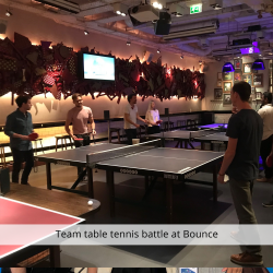 Team table tennis battle at Bounce