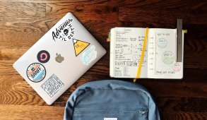 macbook with supplies