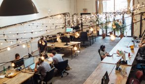 wework area with light strings