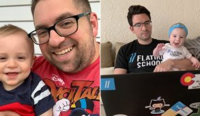 Fathers coding with their kids