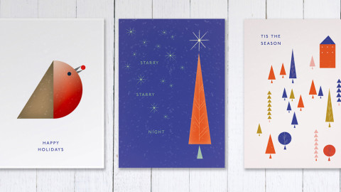 FREE Printable Christmas Cards with a Mid-Century Twist
