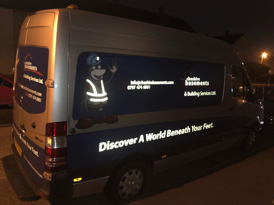 Cheshire Basements Van At Night
