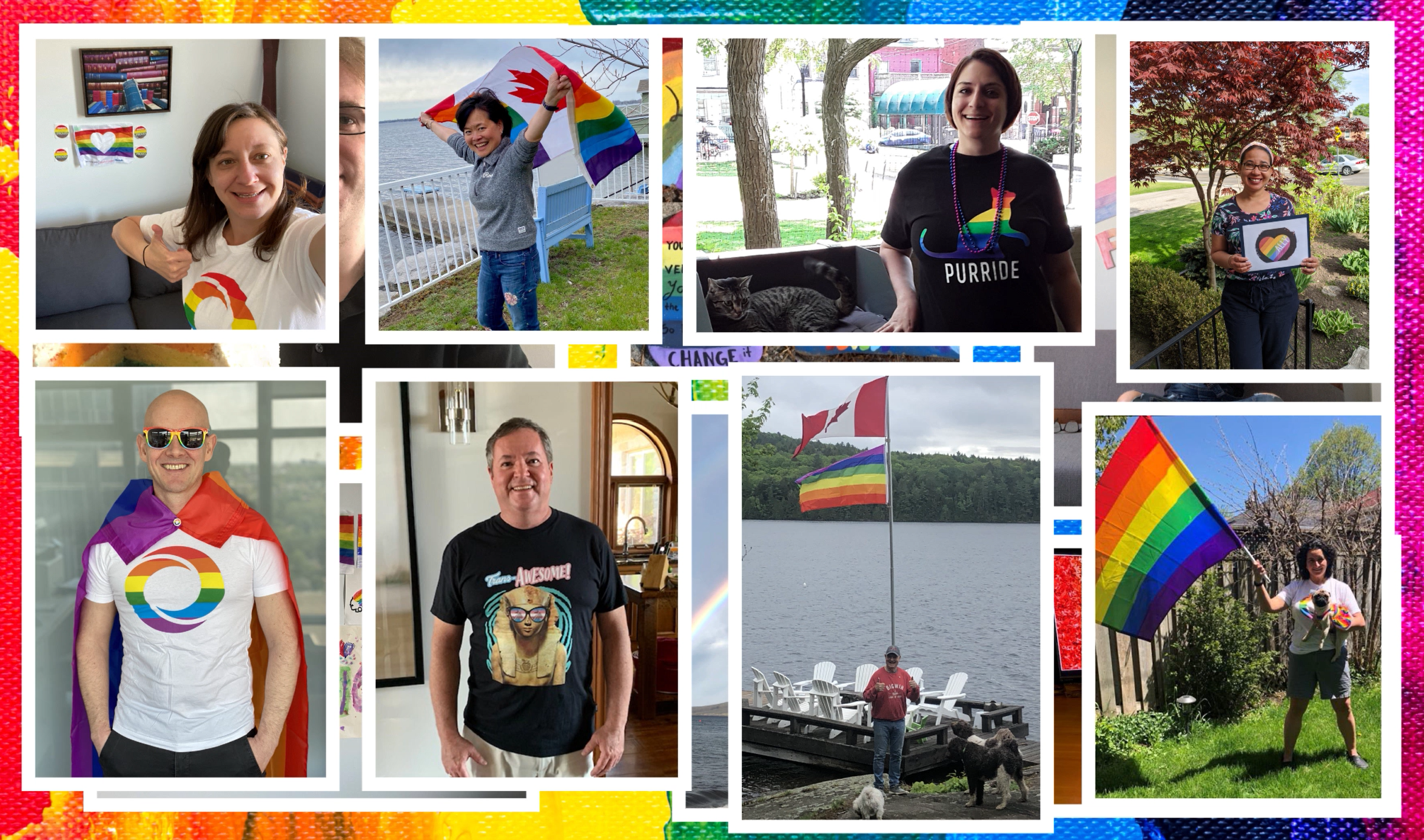 Different of image of people wearing an OMERS shirt with a rainbow O, and others holding/wearing the rainbow flag