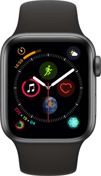 Apple Watch Series 4 4G 40mm Stellargrå Aluminium med svart bånd