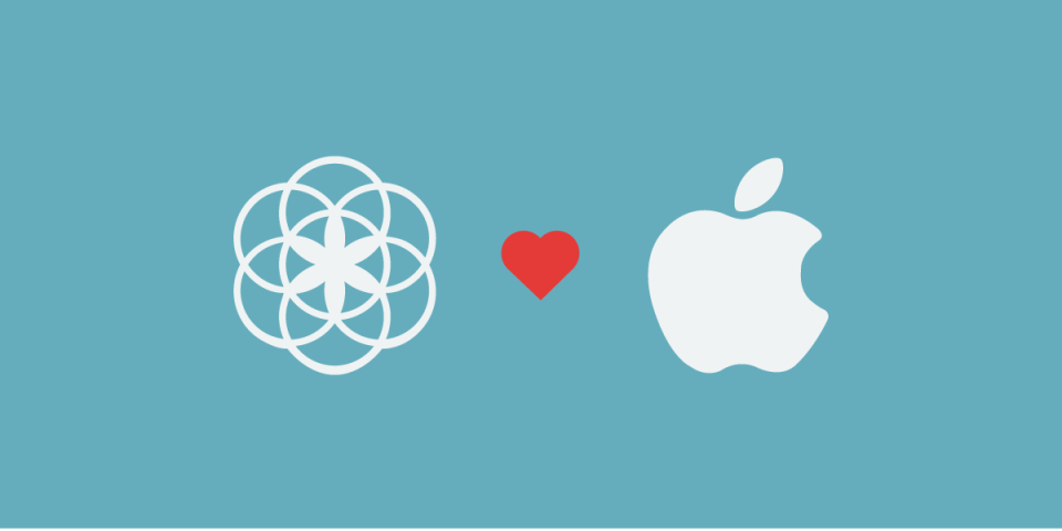 illustration of the clue logo, a heart and the apple logo