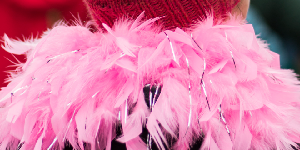 close up picture of a garland of pink feathers