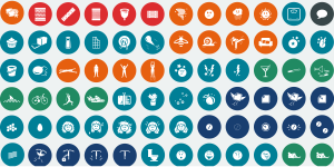 rows and columns filled with colorful icons from the clue app