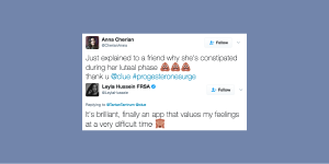 screenshot of two tweets praising the clue app for helping them understand their bodies and being supportive