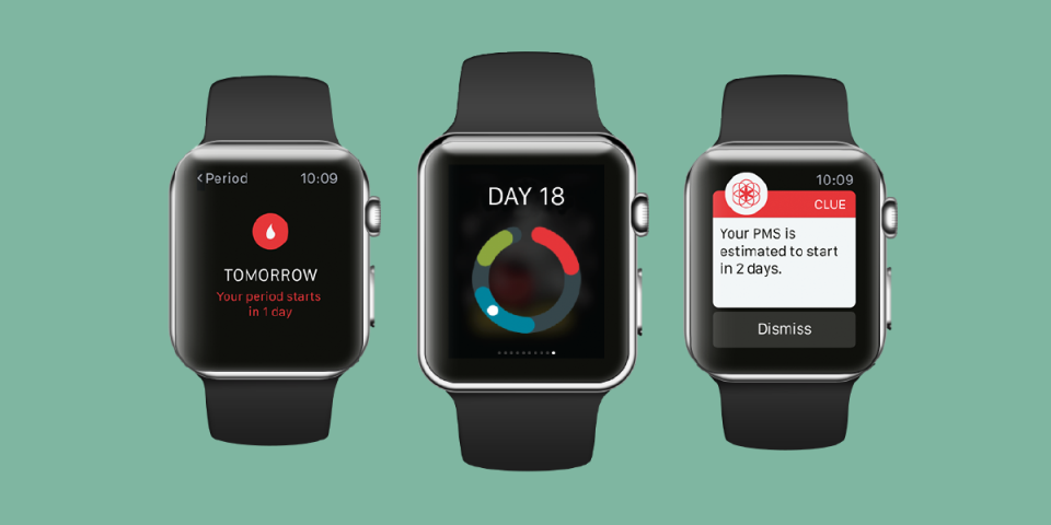 mockup of 3 apple watches displaying the clue period tracking app appearance on the apple watch