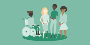 There is a person in a wheelchair, a person with a prosthetic leg, a person with an amputated arm, and a blind person with a white cane.