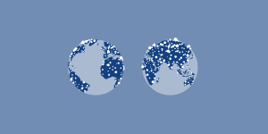 2 images of the world, with many lights distributed across the land masses