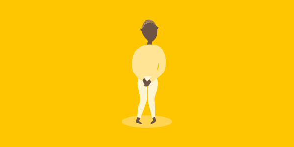 Person holding pants, in yellow shades on a yellow background