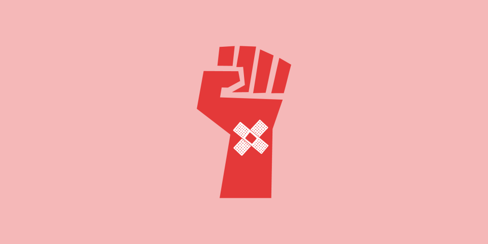 illustration of a red fist with a band-aid x on the wrist