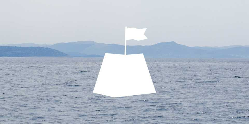 illustration with a flag on top of a picture of the sea