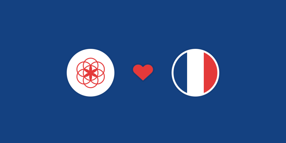 illustration of the flower of life, the clue logo, in a circle, a heart and the french flag in another circle