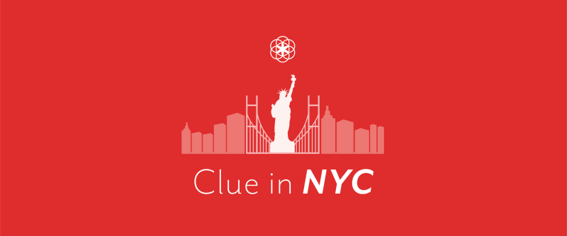New York City skyline with statue of liberty and Clue logo