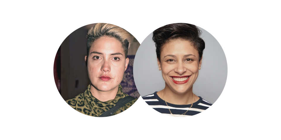 Portraits of Melina Gaze (with short bleached hair, brown eyes and wearing a leopard print top) and Dr. Sara C. Flowers (with brown hair, brown eyes, wearing red lipstick and smiling)