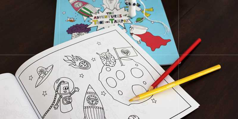 photo of a colouring book title the adventures of toni the tampon