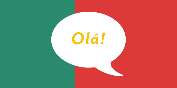 white speech bubble on top of an abstract version of the portuguese flag saying ola