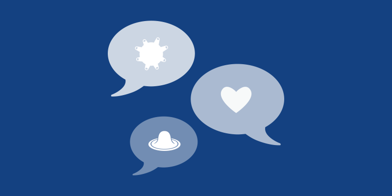 Three speech bubbles: one containing a virus, one a heart, and one a condom