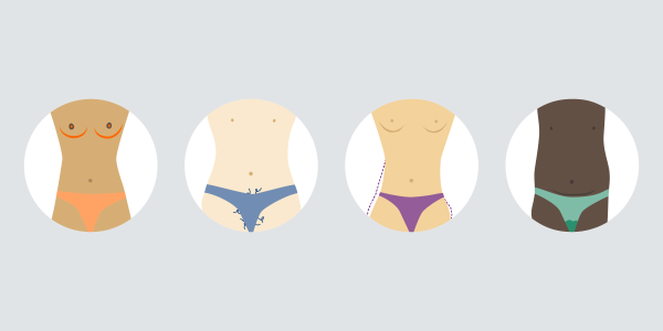 4 circles with illustrations of different symtptons and signs of bodily changes as appearing when getting the period