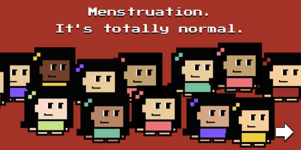 screenshot of the tampon run game showing several illustrations of young women. caption reads menstruation. it's totally normal.