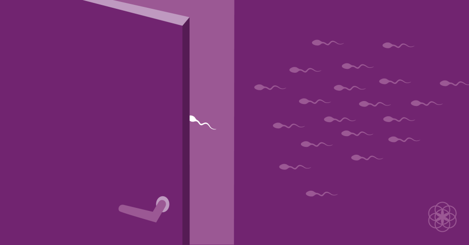 illustration of a group of sperms on their way to entering a door