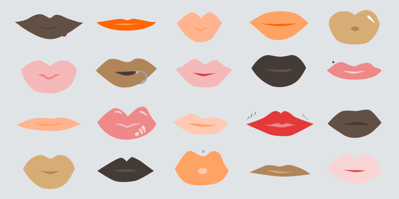 illustrations of various colorful lips