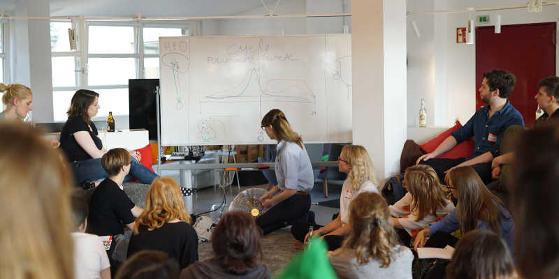 Photo of a Clue event in our office where Anna, researcher at Clue, explains the cycle phase on a white board