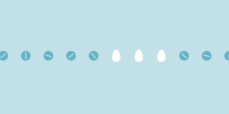 a row of blue pills and three white eggs on a light blue background