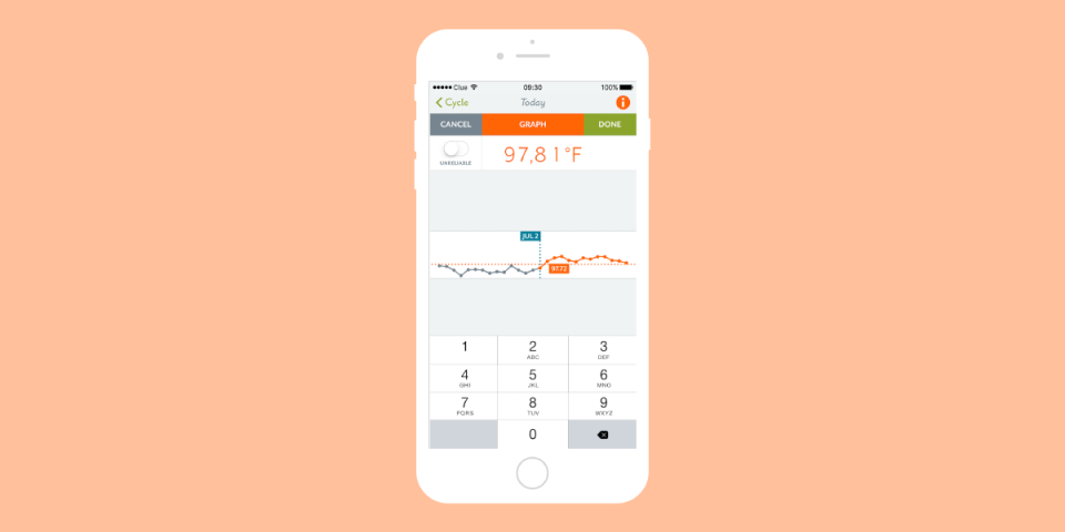 illustrated iphone with the new clue period tracker app feature of pill tracking
