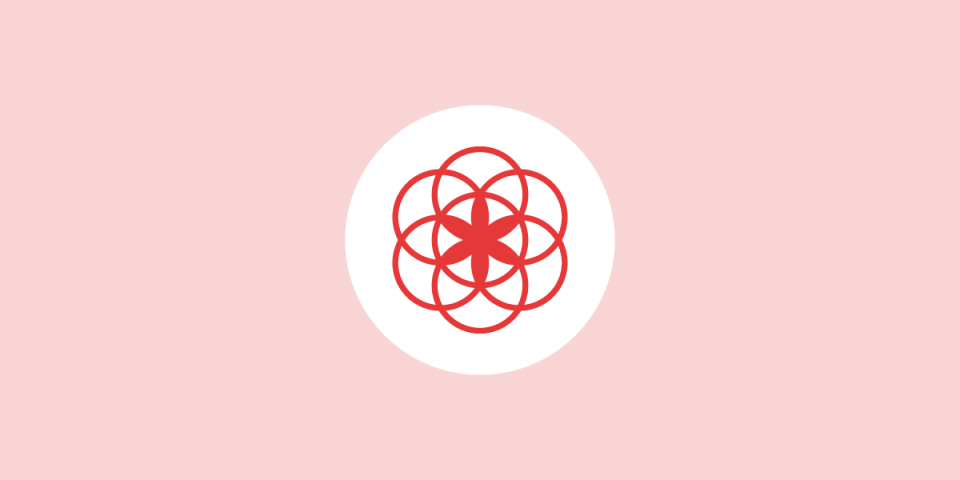 illustration of the flower of life in red on a white circle in the center of a light red background, the clue app logo