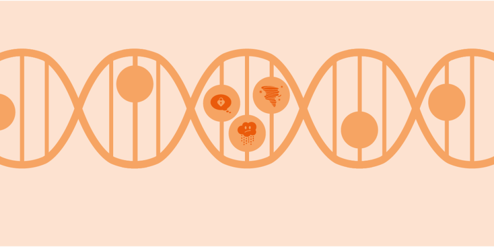 illustration of a strain from a dna helix with 3 icons of pmdd