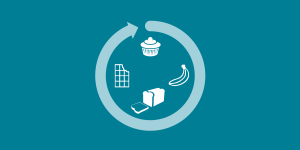 illustration of a light blue circle wrapped around a choclate bar, a banana, a loaf of bread and a muffin, some clue nutrition icons