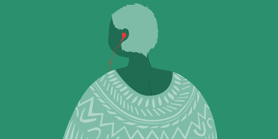 Picture of a woman with headphones