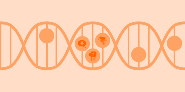 Zoom on the DNA, with some of the Clue mood icons inside of the cells. Illustration in the orange tones.