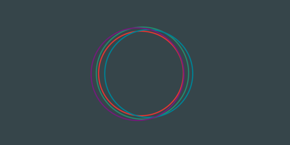 illustration of 4 colorful cycles on a dim grey background