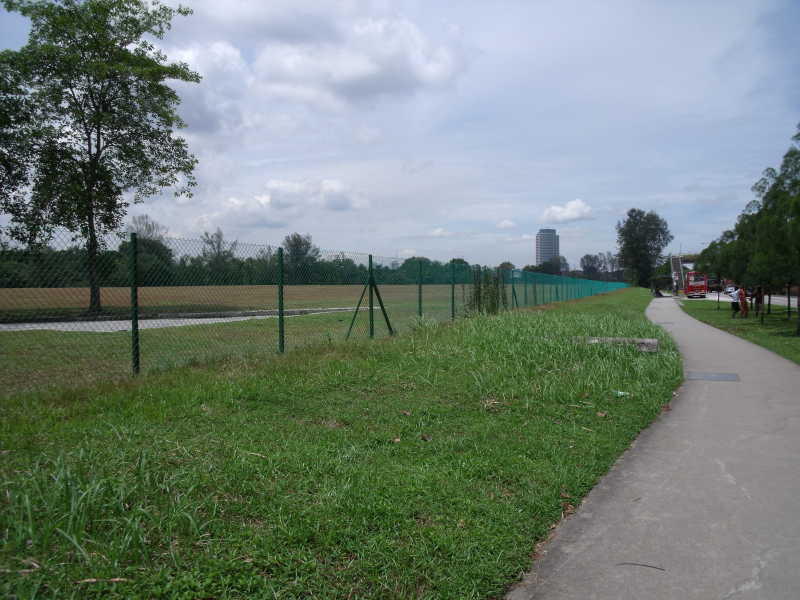 Chain link fence surrounding a field in Jurong Singapore