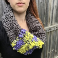 Crochet cowl featuring hand-dyed art yarn