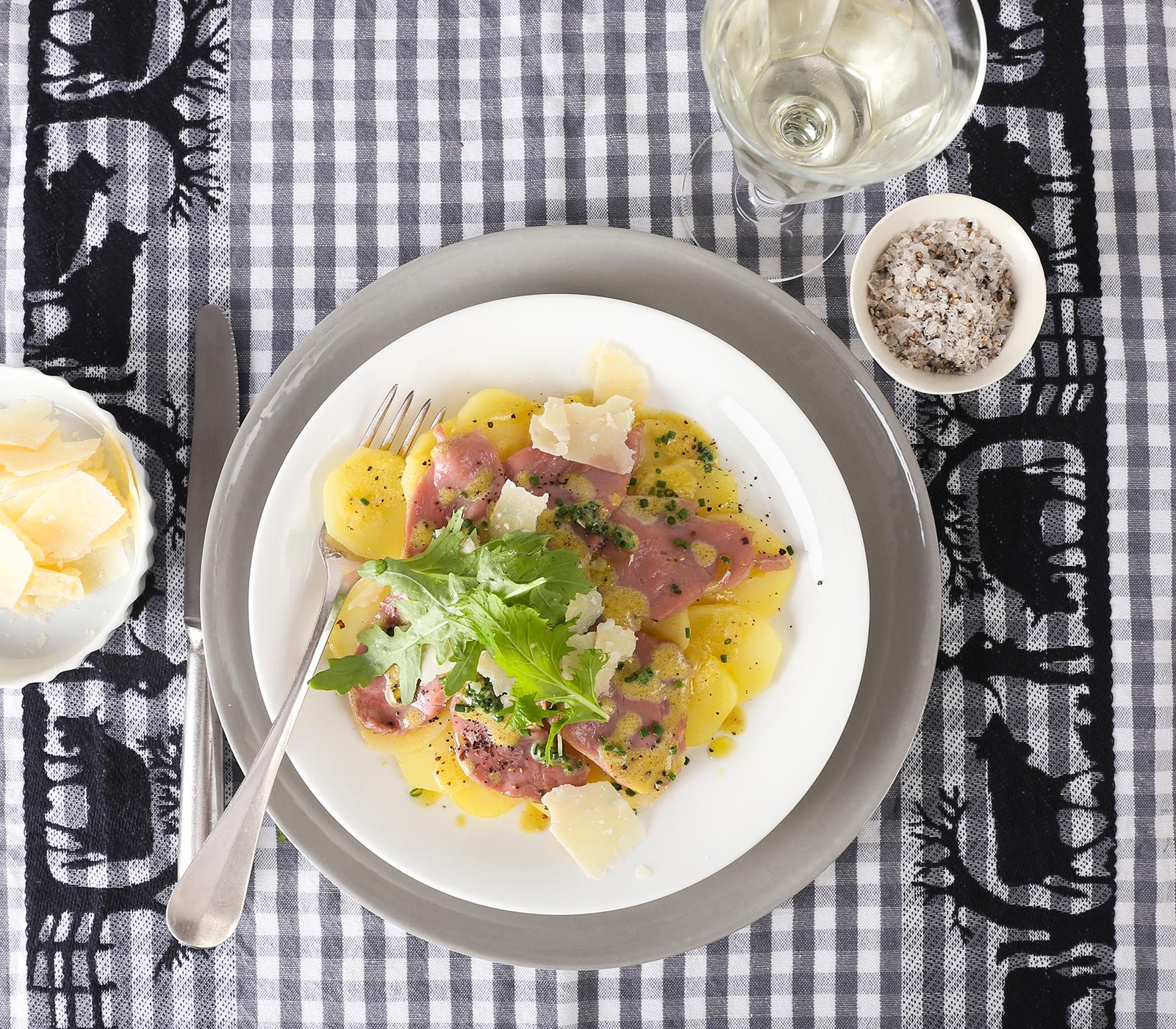 Berbackenes kartoffel kalbfleisch carpaccio annemarie for Kochen 5 personen