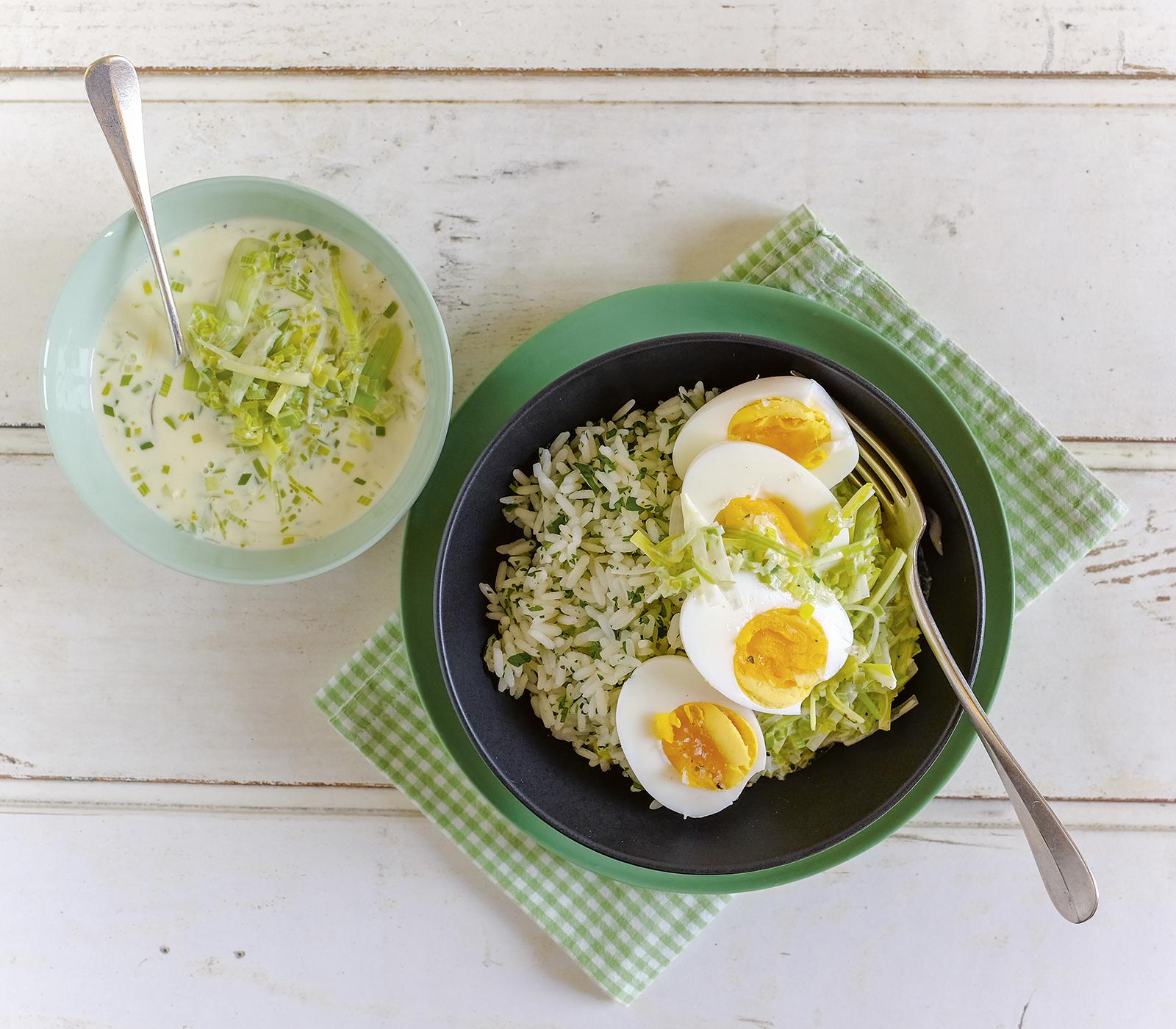 Eierragout an lauchsauce mit petersilienreis annemarie wildeisens kochen - Eier wachsweich kochen ...