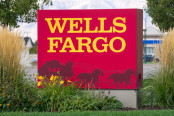 Wells Fargo sign outside.