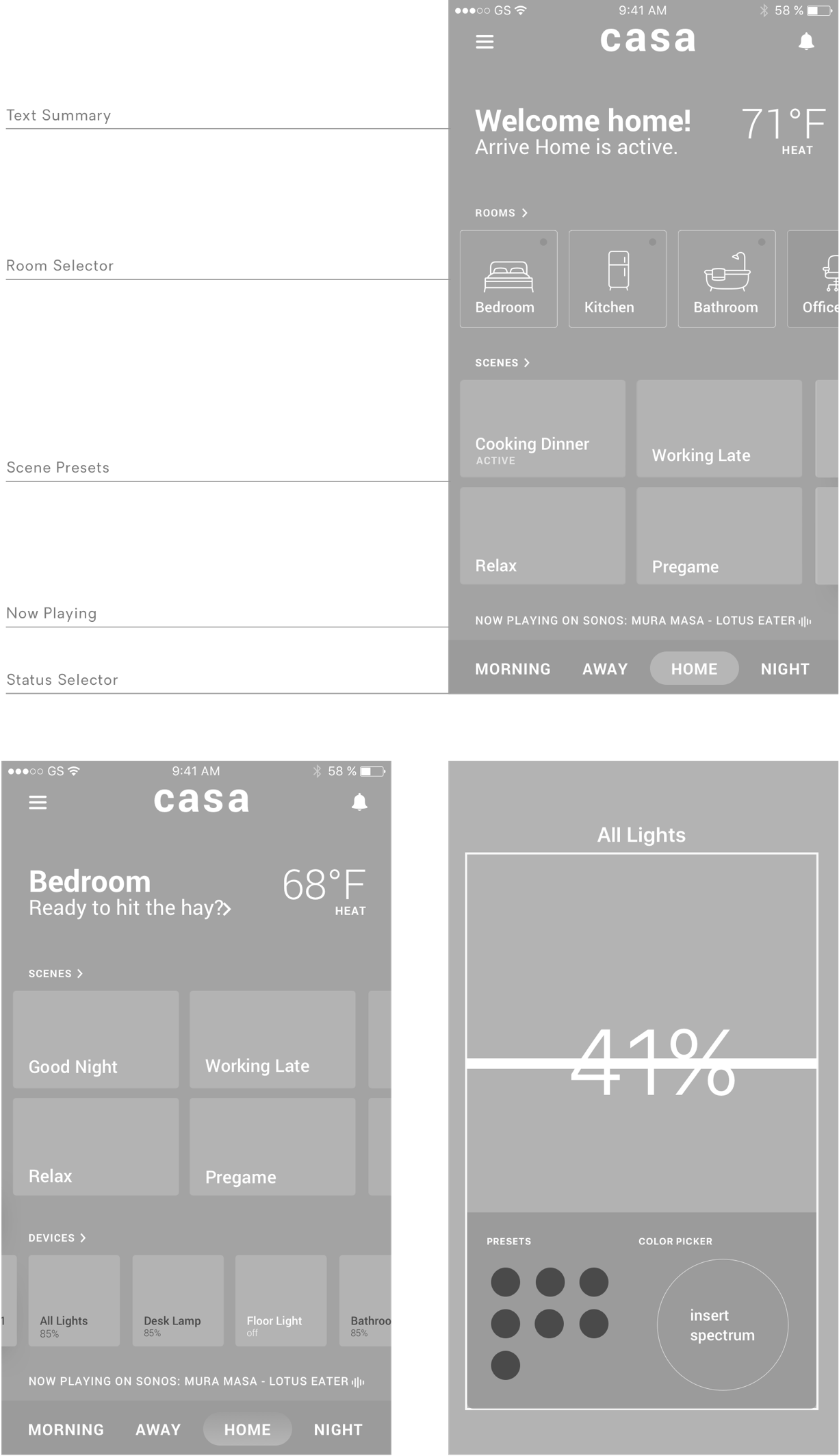 From top right: Home screen, Room specific view, light control modal (click to enlarge)