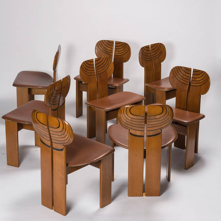 Set of eight  africa  chairs from  artona  collection by afra and tobia
