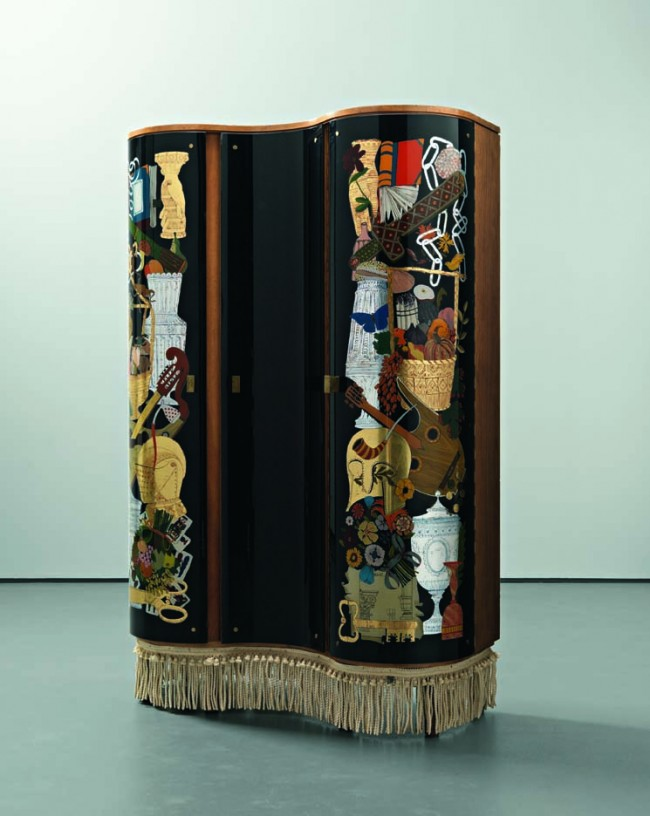 Gio ponti and piero fornasetti unique cabinet  1940
