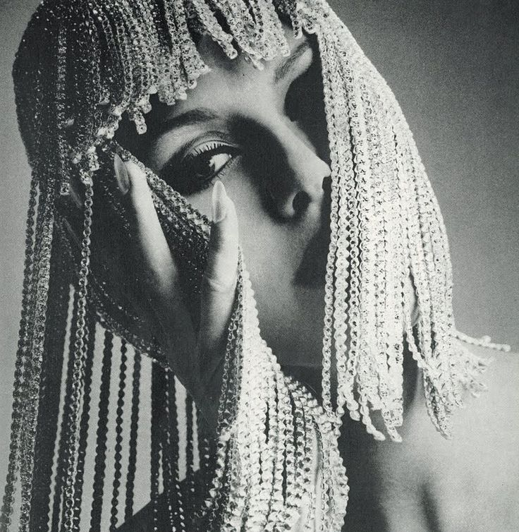 Rhinestone headdress by peter bateman  photo by guy bourdin for vogue uk  1966