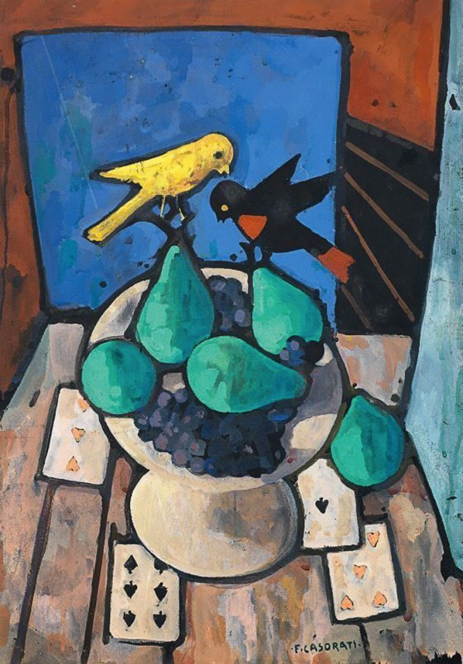 Felice casorati still life with two small birds   195