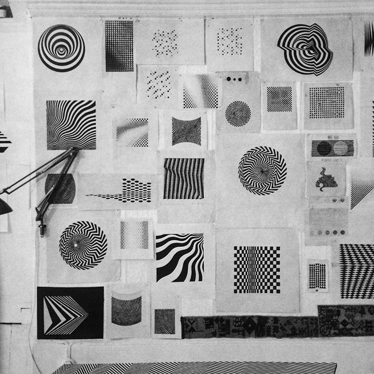 Wall inside bridget riley s studio flat in earl s court  1964